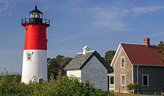 Eastham, Massachusetts - Nauset Light, oil house and lightkeeper's home on the Cape Cod National Seashore