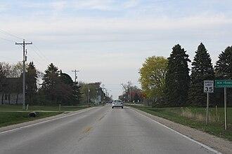New Franken, Wisconsin - Looking north at the New Franken sign