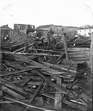 1881 Minnesota tornado outbreak - Damage to New Ulm after the tornado