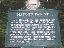 New Hampshire historical marker for Mason's Patent, named after John Mason