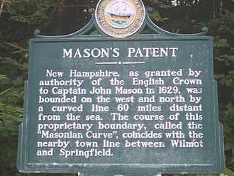 John Mason (governor) - The New Hampshire historical marker for Mason's Patent