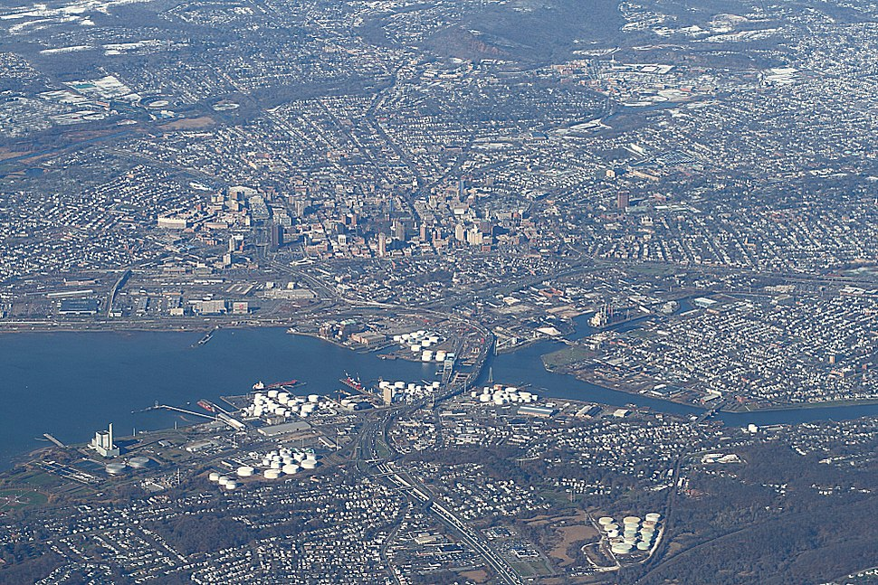 New Haven from above, 2009-12-10