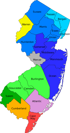 Map of the 21 counties of the State of New Jersey
