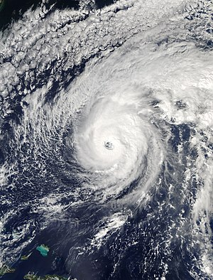 Tropical cyclone naming - Image of Hurricane Nicole nearing peak strength in October 2016