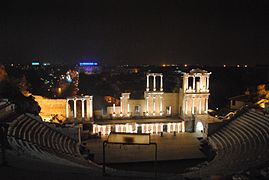 Nightly Ancient Roman theatre, Plovdiv, Bulgaria 6.jpg