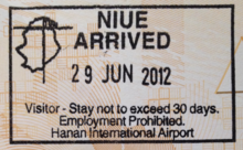 Niue Entry Stamp Issued At Hanan International Airport