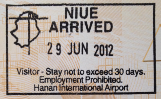Visa policy of New Zealand - Niue entry stamp issued at Hanan International Airport