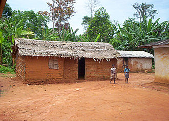 East Region (Cameroon) - Typical Bantu house in the village of Ngoila