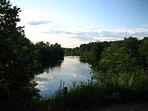 Noormarkku - Noormarkunjoki towards north from the railway bridge