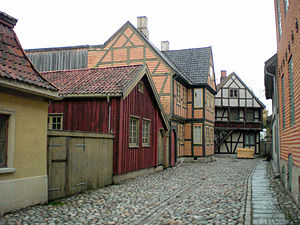 "Norwegian Museum of Cultural History - A street in the ""Old Town"" section of Norsk Folkemuseum"