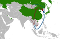 North Korean diaspora and defector routes in Asia simple map.png