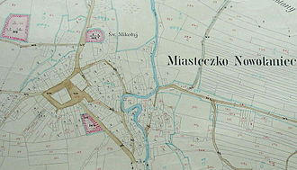 Nowotaniec - Cadastral map, Miasteczko Nowotaniec, 1852.