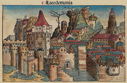 Medieval depiction of Sparta from the Nuremberg Chronicle (1493) Nuremberg chronicles - f 28v.png