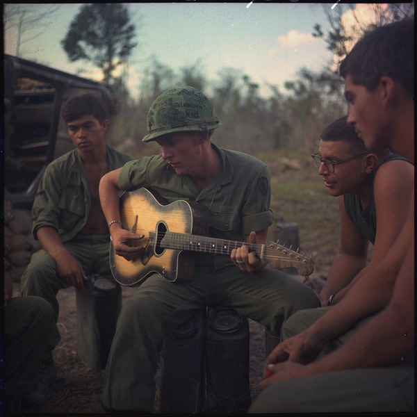 "OPERATION ""YELLOWSTONE"" VIETNAM, Following a hard day, a few members of Company ""A,"" 3rd Battalion, 22nd Infantry... - NARA - 530617"