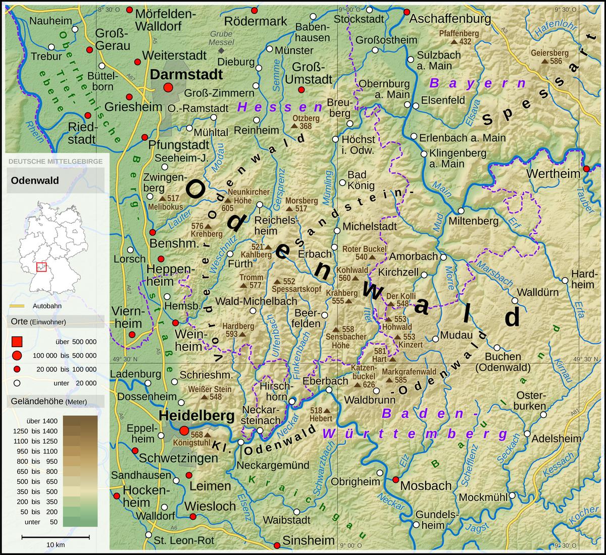 karte odenwald Odenwald – Wikipedia