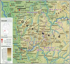 Carte topographique de l'Odenwald.