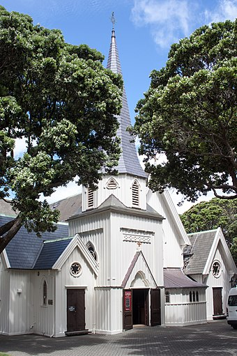 Old St Paul's was the Anglican pro-cathedral, and one of the oldest structures in Wellington. It was built in a Gothic style. Old St Paul's church, Wellington, 2016-01-25.jpg