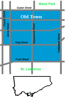 Detail and location of Old Town within Toronto