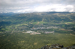 Oppdal as seen from the Almann Mountain in August 2008