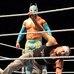 Sin Cara - Arias, as Hunico, wrestling in a match during his feud with the original Sin Cara (Luis Urive)