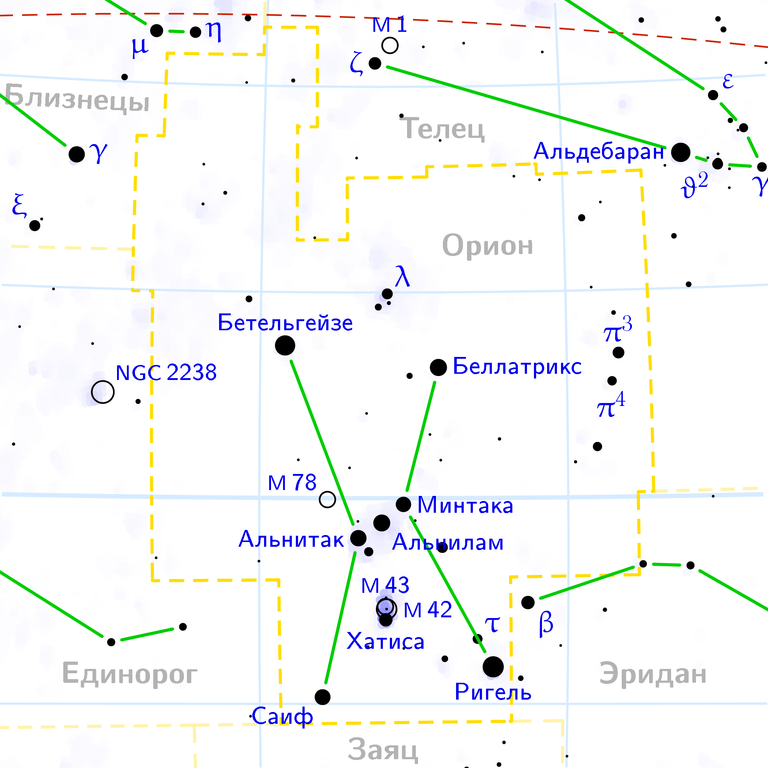 M 42 на карте созвездия Ориона