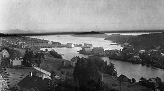 Osøyro - View of the village area in 1916