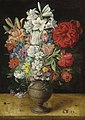 Osias Beert - Flowers in a German tigerware vase, with a bluebottle fly and a Red Admiral butterfly, on a ledge.jpeg