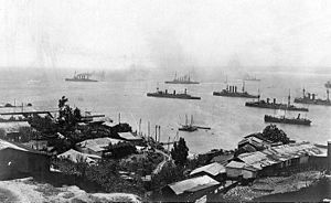 A group of large warships steaming slowly off a city.