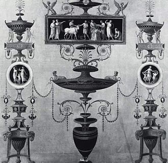 Osterley Park - A design for one of the walls of the Estruscan dressing room at Osterley Park by Robert Adam.
