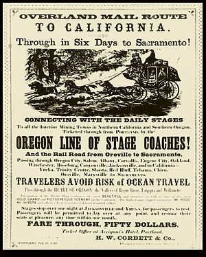 Butterfield Overland Mail - Advertising poster for a similar but later service between California and Oregon