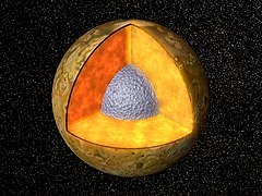 Model of the possible interior composition of Io with an inner iron or iron sulfide core (in gray), an outer silicate crust (in brown), and a partially molten silicate mantle in between (in orange)