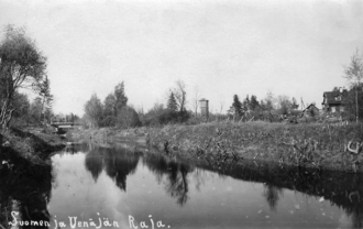 Sestra River (Leningrad Oblast) - Sestra river/Rajajoki in the 1920s. To the left is Finland, to the right is Russia. In the background the railway line Helsinki-Viipuri-St Petersburg.