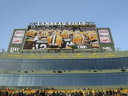 Lambeau Field's north end zone with the six retired numbers Packers Retired Numbers at Lambeau Field.jpg