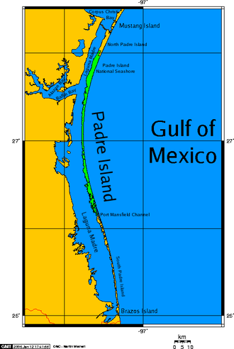 Padre Island - Padre Island map, showing the Laguna Madre waters enclosed along the south Texas coast.