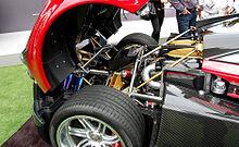 Parte posteriore e motore di una Pagani Huayra