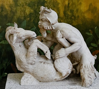 Pan (god) - Pan having sex with a goat, statue from Villa of the Papyri, Herculaneum.