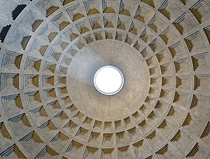 Pantheon, Rome - The Pantheon dome. The concrete for the coffered dome was poured in moulds, probably mounted on temporary scaffolding. The oculus is the main source of natural light.