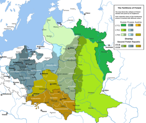 Polish Operation of the NKVD - Partitions of Poland overlaid with the outline of the Second Republic. Most territories annexed by the Russian Empire by 1793 (in shades of green) remained in the Soviet Union, and became the scene of the genocide of Poles in 1937–38.