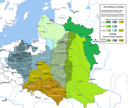 Partitioned Poland overlaid with the outline of the Second Republic. Most territories annexed by the Russian Empire (in shades of green) remained in the Soviet Union, and became the scene of genocide of Poles in 1938. Partitioned Poland & the 2nd Republic.png