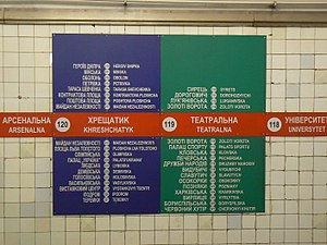 Stations On Lines In The Kiev Metro; Also Transcribed Into Roman Letters