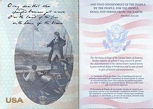 United States passport - Post-2007 U.S. passport, first page