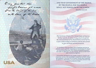 United States passport - Post-2007 U.S. passport, first page