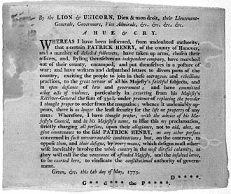 Patrick Henry - Royal proclamation against Henry, 1775