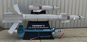 Paveway - Top to bottom: A Paveway 2 computer control group, an Enhanced GBU-12, and a Laser-Guided Training Round, at the Paris Air Show 2007
