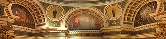 Edwin Austin Abbey - Lunette and medallion murals (1908-11), Pennsylvania State Capitol Rotunda. Left to right: The Spirit of Vulcan, Science, The Spirit of Religious Liberty, Art, The Spirit of Light.