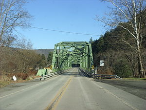 Pennsylvania Route 191 - PA 191 at its northern terminus on the bridge to Hancock, New York in Wayne County