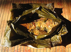 Banana leaf - Carp pepes, carp fish cooked with spices in a banana leaf.