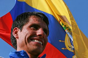 Jefferson Pérez - Jefferson with the Ecuadorian flag.