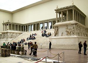 Pergamon Altar - The western side of the Pergamon Altar as reconstructed in the Pergamon Museum in Berlin.