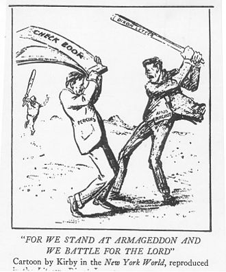 George Walbridge Perkins - 1912 editorial cartoon showing Perkins (with a check book symbolizing control of money) battling Amos Pinchot (wielding a letter of support from Roosevelt campaign manager, Senator Joseph M. Dixon)  for control of the Progressive party. Cartoon by Rollin Kirby.